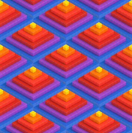Colorful 3D boxes pyramid background - vibrance cubes seamless pattern Stock Photo