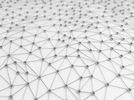 Abstracte netwerk verbinding achtergrond - chroom op wit Stockfoto
