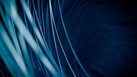 青いケーブルの抽象的な背景 - 3 D レンダリングします。