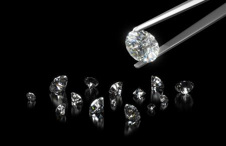 暗い背景とピンセットのクローズ アップに高級ダイヤモンド 写真素材
