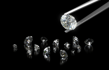 diamond jewelry: Luxury diamond in tweezers closeup with dark background