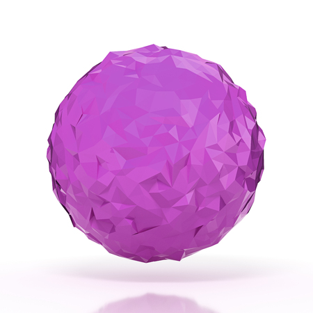 futurictic: Purple triangular 3D sphere on white isolated with clipping path