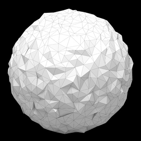 futurictic: White triangular 3D sphere on black  isolated with clipping path