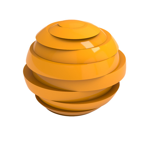 lamina: Sliced orange ball 3D render isolated with clipping path