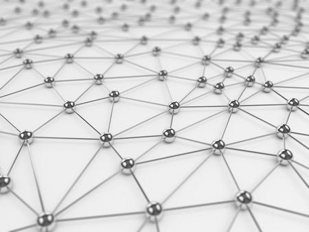 Abstracte sociaal netwerk achtergrond - chroom op wit Stockfoto