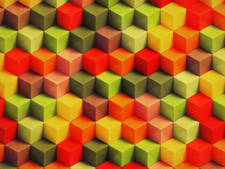 fondo geometrico: Colorful vintage geometric background - 3D cubes pattern