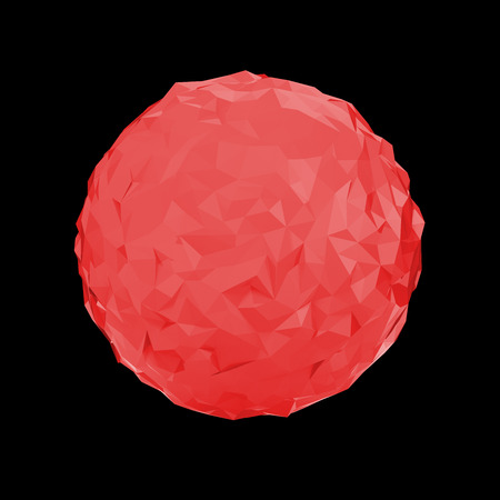 red sphere: Red triangular 3D sphere on black  isolated with clipping path