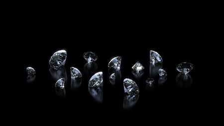 Luxury shining diamonds background on black
