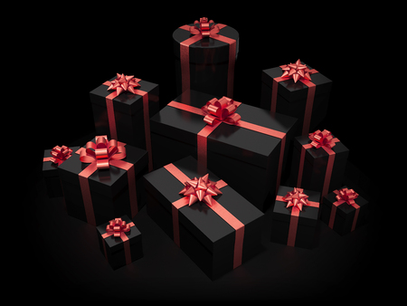 Stack of gift boxes on black isolated with clipping path Stockfoto