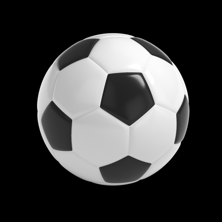 Football - Soccer ball HQ 3D render isolated with clipping path on black
