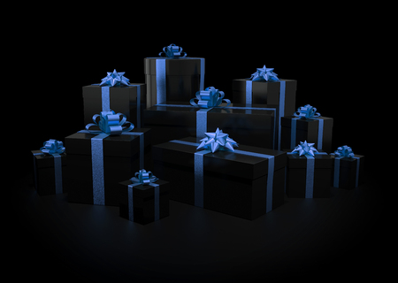 box: Stack of gift boxes on black isolated with clipping path Stock Photo