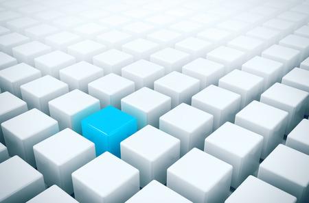 Unique in the crowd - alone blue box in white boxes crowd Stock Photo