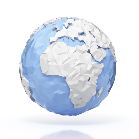 planet earth: Planet Earth globe - origami style - isolated with clipping path Stock Photo