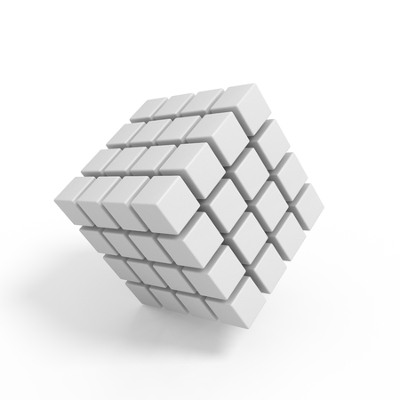 perfectionist: Business concept - 3D block cubes render on white Stock Photo