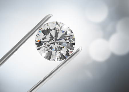 Luxury diamond in tweezers closeup with bright bokeh background