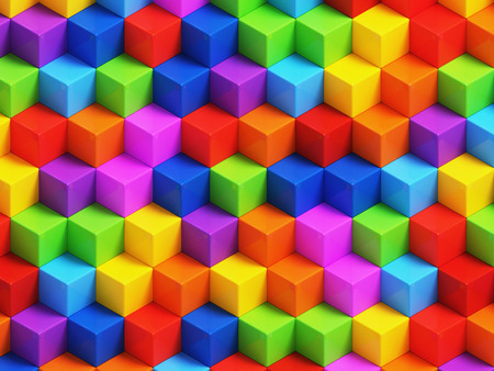 red color: Colorfull 3D geometric boxes background - vibrance cubes seamless pattern Stock Photo