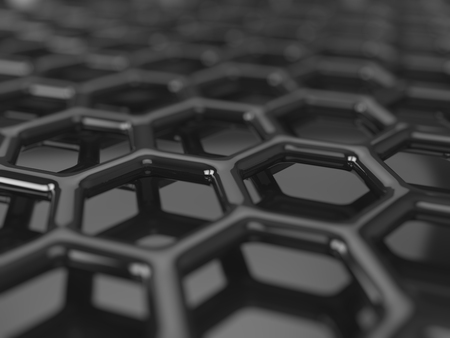 3d carbon: Abstract dark background - hexagonal carbon structure 3D render