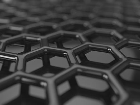 Abstract dark background - hexagonal carbon structure 3D render