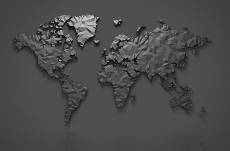 Origami 3D world map isolated with clipping path 写真素材