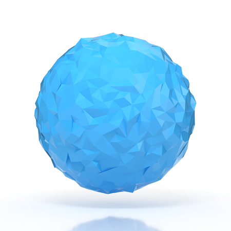 futurictic: Blue triangular 3D sphere on white isolated with clipping path