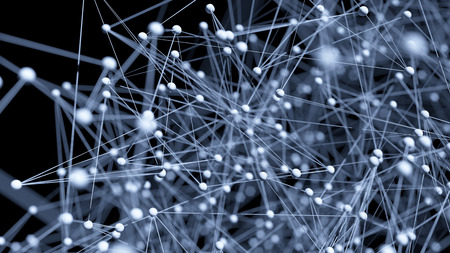 networks: Abstract network molecule background - 3d visualisation Stock Photo