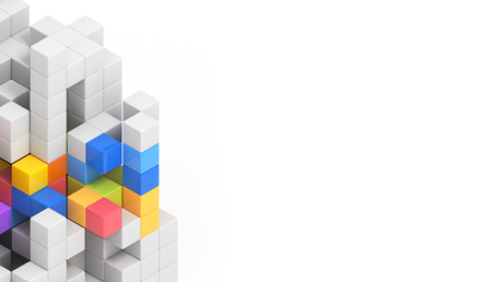 solidaridad: Tarjeta de Bussines concepto de diseño - 3D cubos de colores de fondo