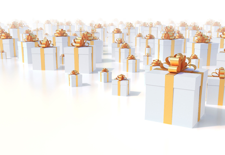 present box: Christmas presents background with golden ribbon