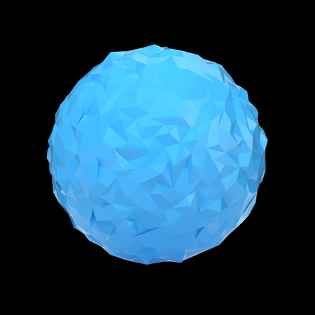 futurictic: Blue triangular 3D sphere on black  isolated with clipping path