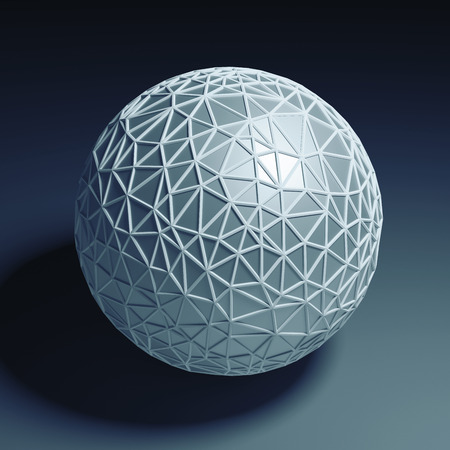 futurictic: Blue polygonal 3D sphere isolated with clipping path Stock Photo