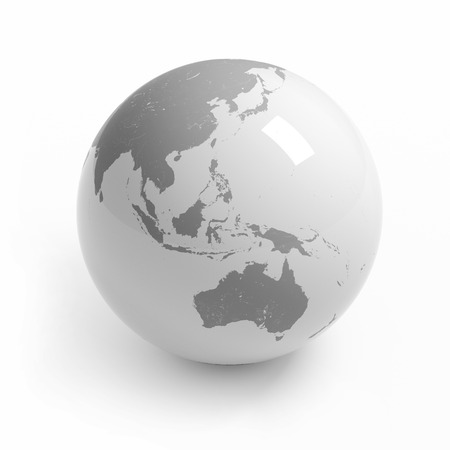 Wereld kaart globe geïsoleerd met uitknippad op wit - Australië, Azië Stockfoto - 45148489