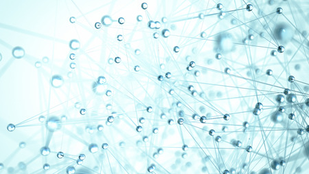 Abstract network molecule background - 3d visualisation Stock Photo