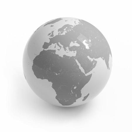 Wereldkaart globe geïsoleerd met het knippen van weg op wit - Afrika, Europa, Azië