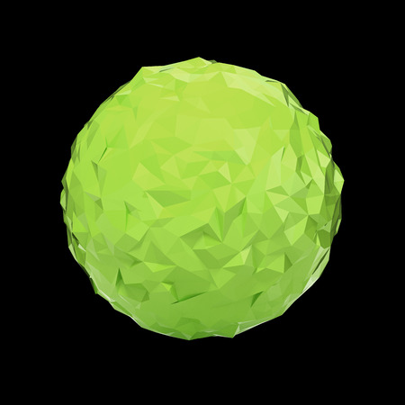 futurictic: Green triangular 3D sphere on black  isolated with clipping path