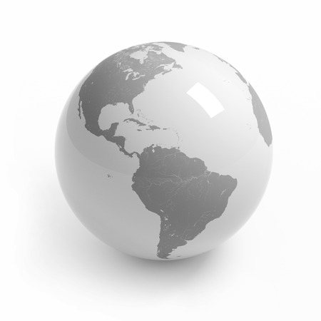 World map globe isolated with clipping path on white - America