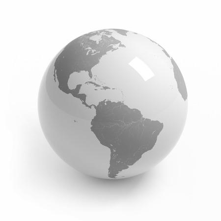Wereldkaart globe geïsoleerd met het knippen van weg op wit - America