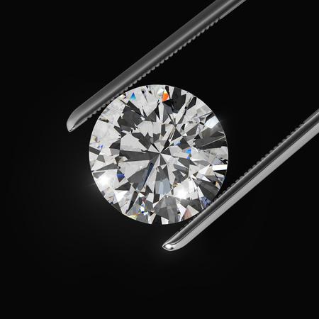 Luxe diamanten in pincet close-up met donkere achtergrond Stockfoto - 45148534