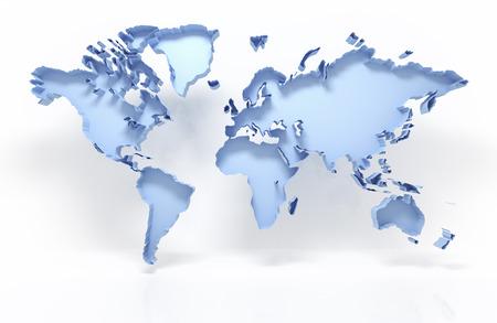 3D wereldkaart op wit met het knippen van weg wordt geïsoleerd die