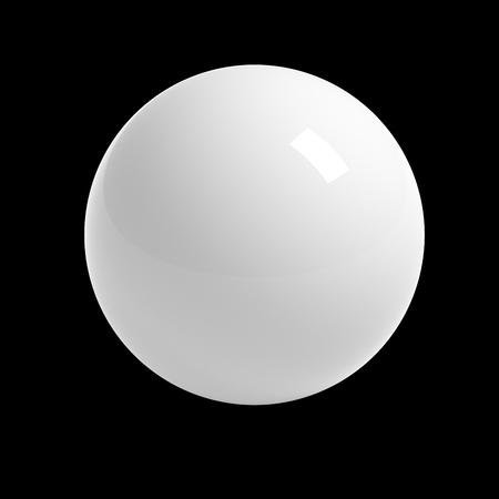 Witte bol op zwarte achtergrond geïsoleerd met clipping path