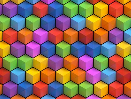 Abstact kleurrijke kubussen - 3D geometrische achtergrond