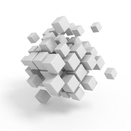 teamwork business: Business concept - 3D block cubes render on white Stock Photo