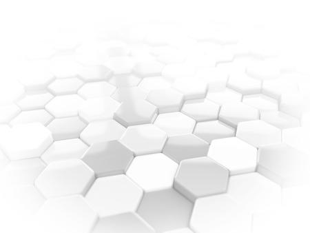 抽象的な白い 3 D レンダラ ・六角形の幾何学的構造の背景