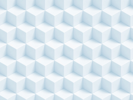 Abstract blue 3D geometric cubes background - seamless pattern