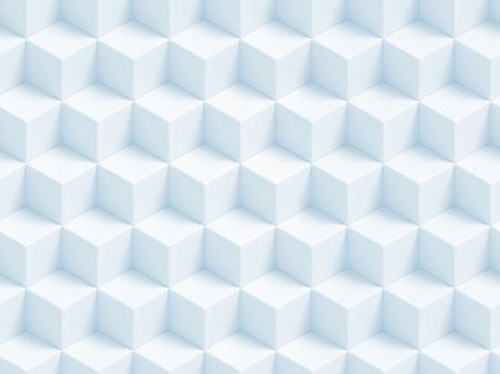 Abstracte blauwe 3D geometrische kubussen achtergrond - naadloos patroon Stockfoto