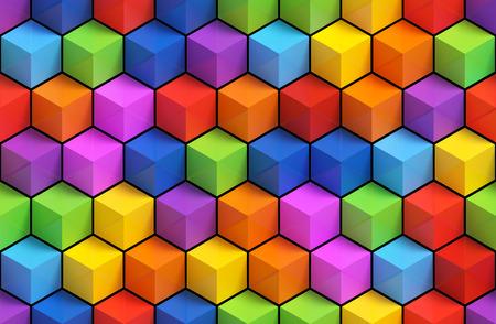 Kleurrijke 3D geometrische dozen achtergrond - vibrance blokjes naadloze patroon