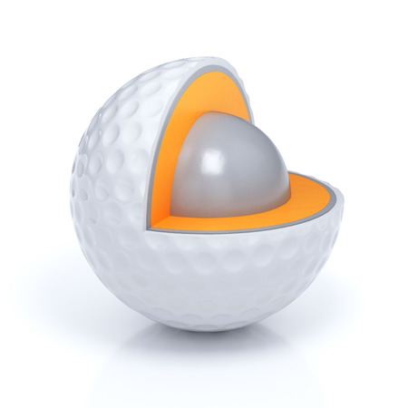 minigolf: Schematic view of sliced golf ball layers isolated with clipping path Stock Photo