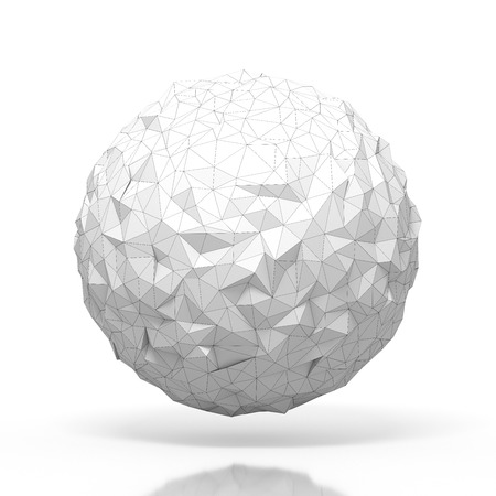 futurictic: triangular 3D sphere on white  isolated with clipping path Stock Photo