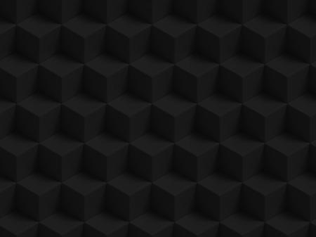 Abstracte zwarte 3D geometrische kubussen achtergrond - naadloze patroon