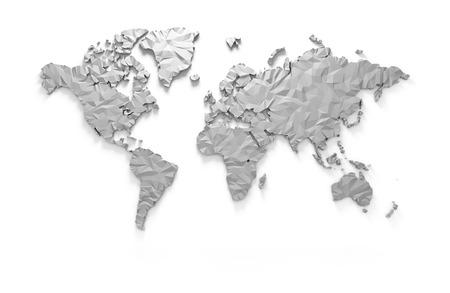 クリッピング パスを分離した折り紙 3 D の世界地図