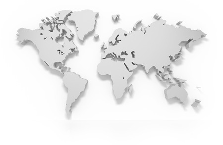 3D world map isolated with clipping path
