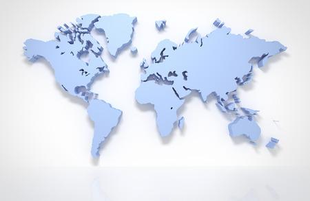 3D-kaart van de wereld die op wit met het knippen van weg